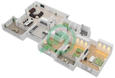 المخططات الطابقية لتصميم النموذج A-ANSAM 4 شقة 3 غرف نوم - أنسام