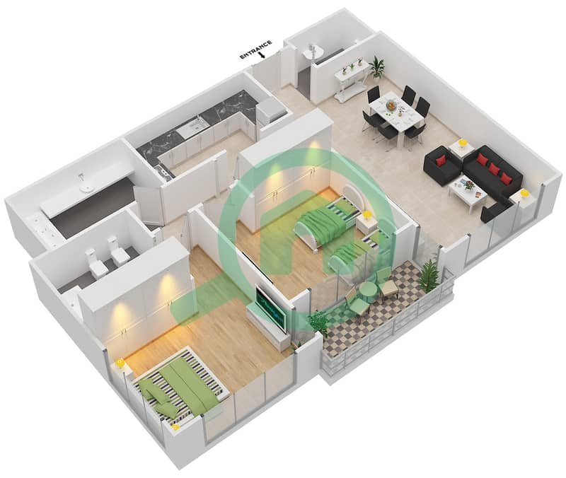 Floor Plans For Type A 2-bedroom Apartments In Mangrove
