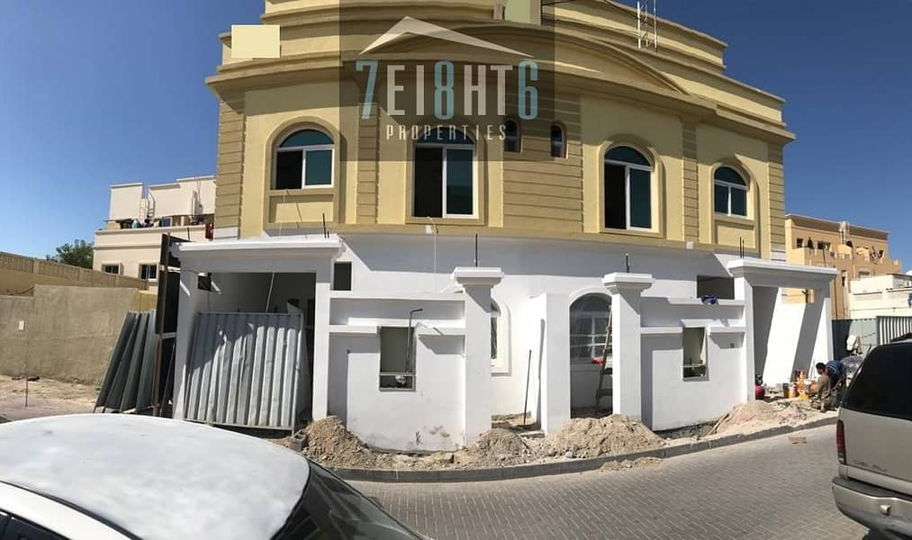 Amazing value: 9 b/r BRAND NEW semi-independent villa + maids room  + large spacious garden for rent in Satwa