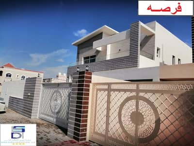 5 Bedroom Villa for Sale in Al Zahraa, Ajman - Luxurious European design villa, large area, close to all services, the finest areas of Ajman (Al Rawda), freehold for all nationalities