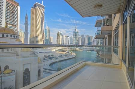 1 Bedroom Flat for Rent in Dubai Marina, Dubai - Marina view | Balcony | Vacant | Chiller Free