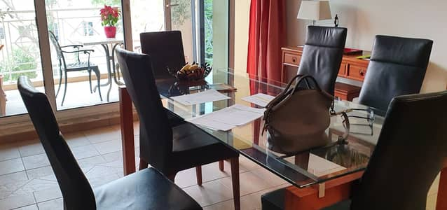 2 Bedroom Flat for Sale in Green Community, Dubai - Spacious Dining with view on Garden