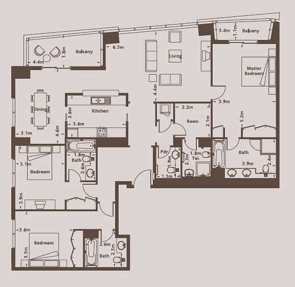 10 Three Large Bedroom | Spacious Living Room
