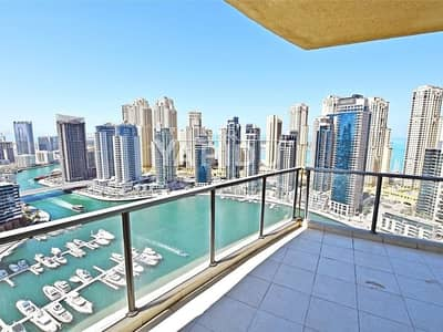 2 Bedroom Flat for Rent in Dubai Marina, Dubai - Full Marina View Large Two Bedroom+Study