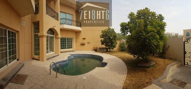 فیلا 5 غرف نوم للايجار في المنارة، دبي - Outstanding property: 5 b/r semi-independent villa + maids room + private s/pool + large garden for rent in Jumeirah