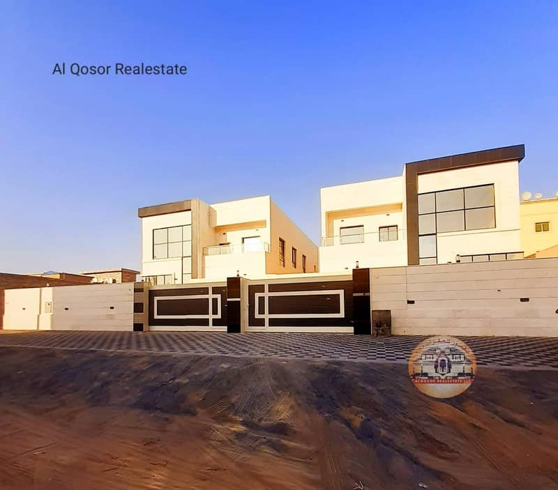 Villa for sale in Ajman, Al Rawda area, the destination of an excellent super deluxe stone next to a mosque directly with the possibility of bank financing