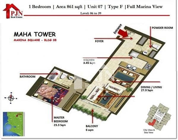 16 Hot Deal !! One Bedroom For Sale In Al Maha Tower.
