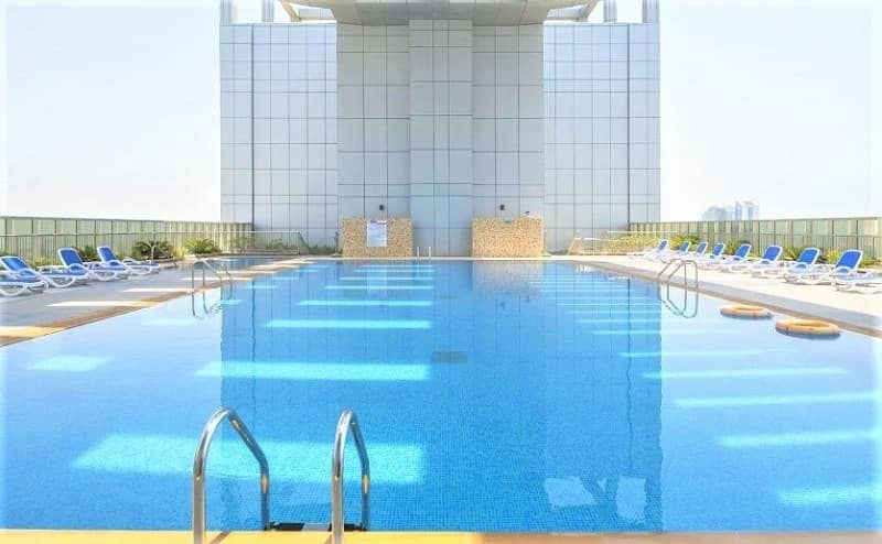 2BR+Maids+Loundry-Meena Tower 95k Parking Gym & Pool