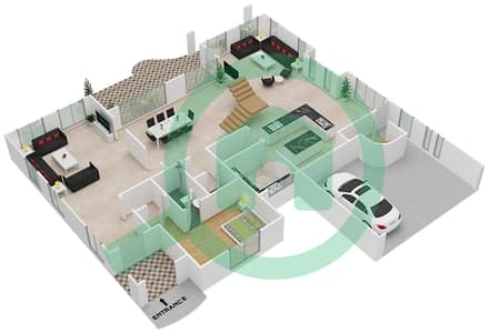 المخططات الطابقية لتصميم النموذج A فیلا 5 غرف نوم - القصور