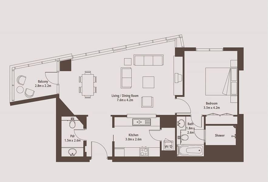 10 One Bedroom | South Ridge 4 | 1025 Sq. Ft.