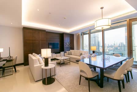 3 Bedroom Flat for Rent in Downtown Dubai, Dubai - Fully Furnished 3 Bedrooms plus Maid | Burj Khalifa View.