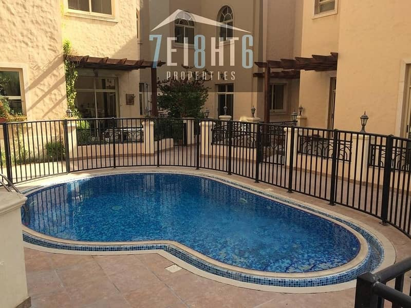 10 Outstanding quality: 5 b/r compound villa + maids room + sharing s/pool + large landscaped garden