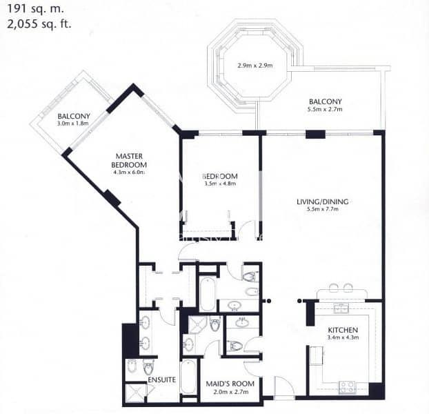 16 Largest 2 bedroom | Full Sea View | PJ