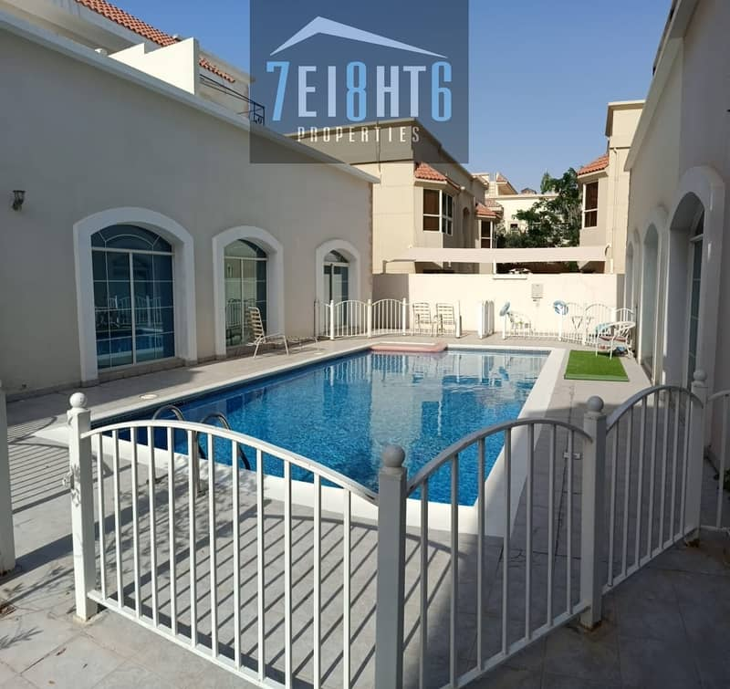 11 Excellent quality: 4 b/r high quality well maintained semi-independent villa + maids room + sharing s/pool + garden