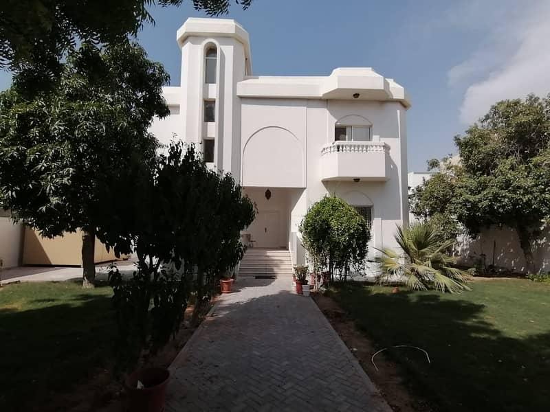 Sp. 5 master bedroom villa with huge majlis, living dining, big garden area, 2 kitchens, maid room, split A/C