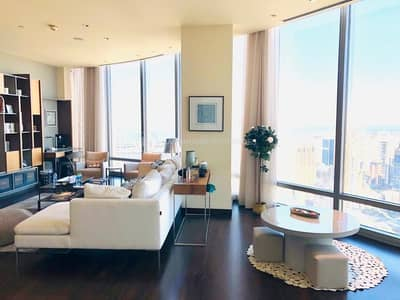 3 Bedroom Flat for Rent in Downtown Dubai, Dubai - Luxuriously Furnished 3BR+maid's Burj Khalifa|Sea View