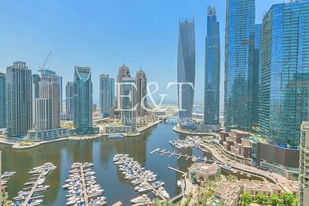 فلیٹ 3 غرف نوم للايجار في دبي مارينا، دبي - Vacant and High Floor with Full Marina View |2 Parkings
