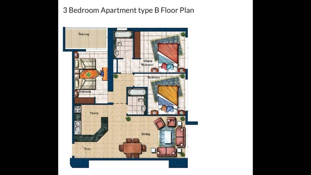 22 Fully Furnished 3 Bedrooms in Mid floor Armada Tower 3