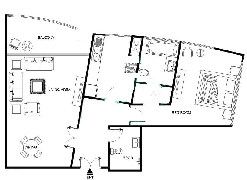 10 1 Bed | Park Views | Closed Kitchen | VOT