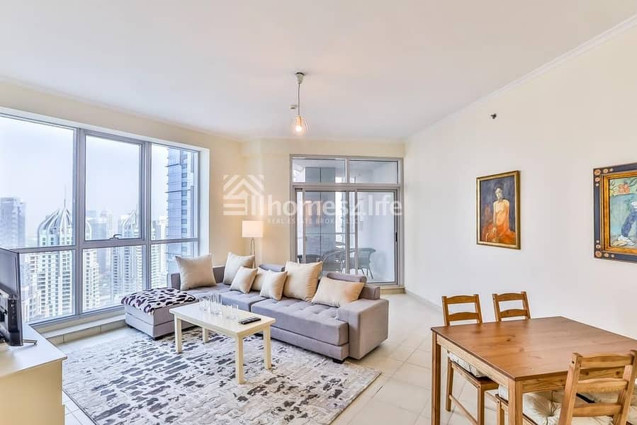 Large furnished  2 Bed Marina-Sea View On 66 Floor