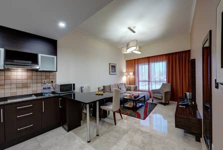 2 Bedroom Hotel Apartment for Rent in Dubai Sports City, Dubai - Special Rates are available for two bedroom starting from AED 99000– at the 5 star Ghaya Grand Hotel