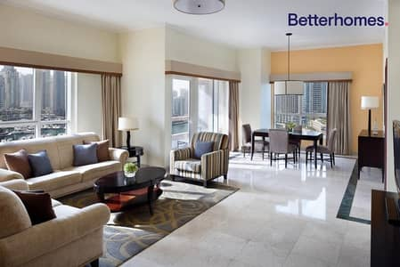2 Bedroom Hotel Apartment for Rent in Dubai Marina, Dubai - Suite|Fully Serviced/Furnished|All Bills Included
