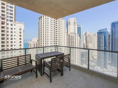 2 Bedroom Apartment for Rent in Dubai Marina, Dubai - Amazing Marina and Sea View with Square Balcony