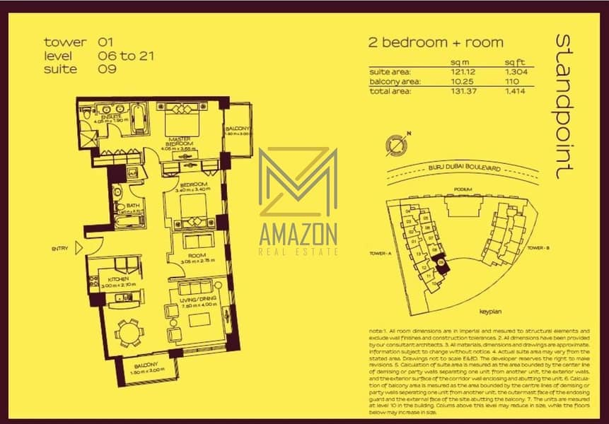18 Fully Furnished / Luxurious and Huge 2 Bedroom + Study  / STANDPOINT Towers