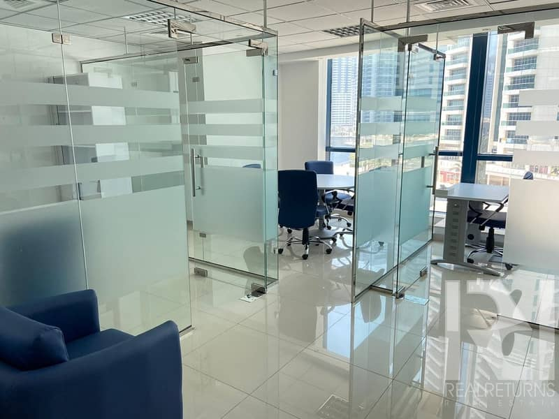 A very Beautiful office with 4 full glass partitions for rent