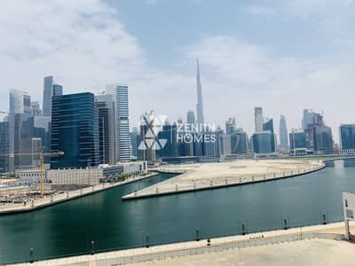 فلیٹ 1 غرفة نوم للايجار في الخليج التجاري، دبي - Full Canal and Burj Khalifa View | Available Now
