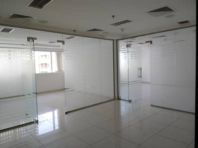 Office for Rent in Al Barsha, Dubai - Chiller free Partition Office with Pantry n toilet 1100sqft 85k