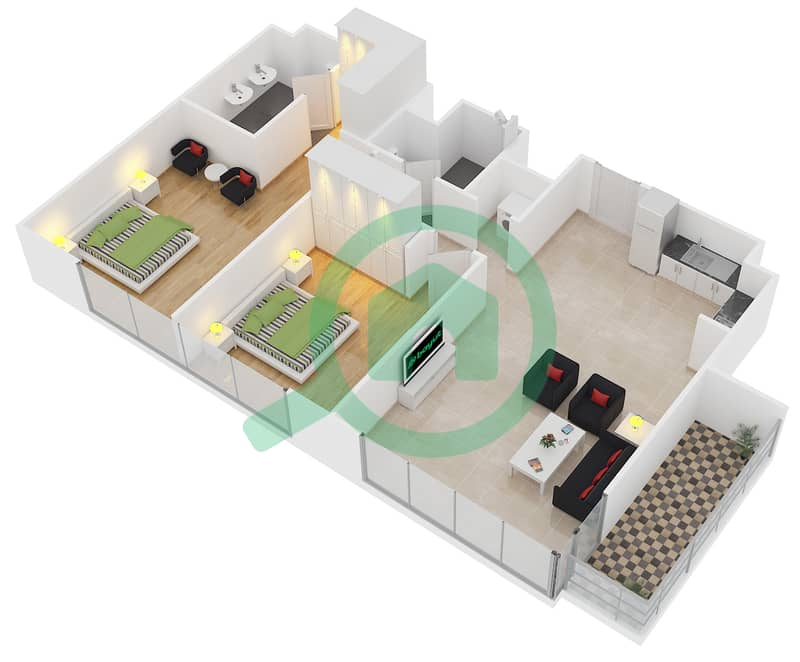 Floor Plans For Unit 2 Floor 18 30 32 35 2 Bedroom Apartments In Act One Act Two Towers Bayut Dubai