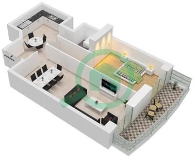 برج الأميرة - 1 غرفة شقق وحدة 9 مخطط الطابق