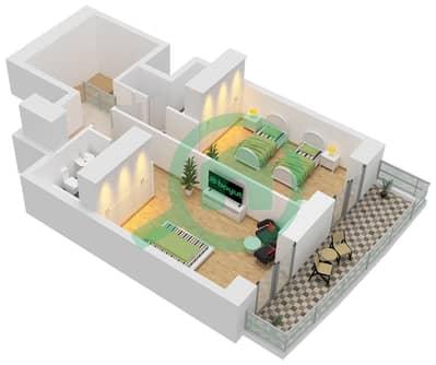 برج الأميرة - 2 غرفة شقق وحدة 9 Floor 67-74 مخطط الطابق