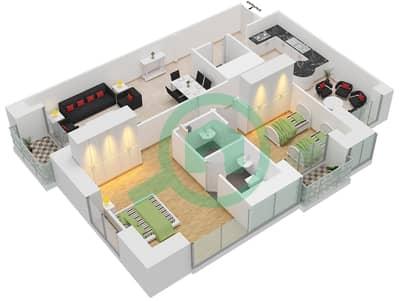 برج الأميرة - 2 غرفة شقق وحدة 8 مخطط الطابق