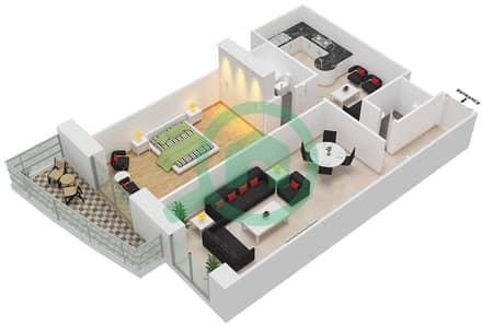برج الأميرة - 1 غرفة شقق وحدة 7 مخطط الطابق