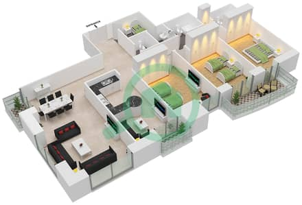 برج الأميرة - 3 غرف شقق وحدة 6 مخطط الطابق
