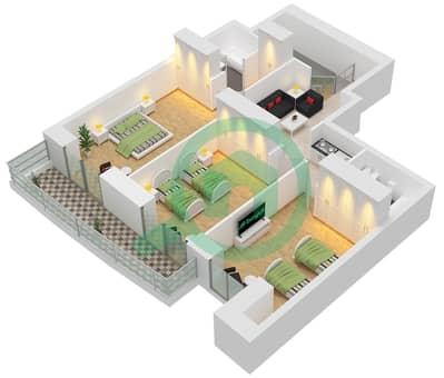 برج الأميرة - 3 غرف شقق وحدة 5 مخطط الطابق