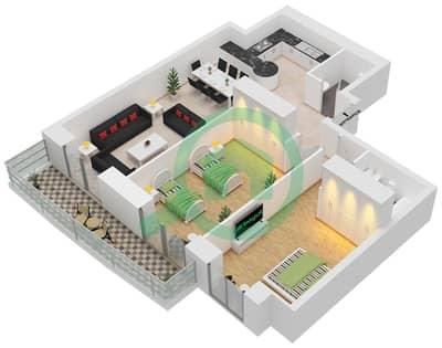 برج الأميرة - 2 غرفة شقق وحدة 5 Floor 7-70 مخطط الطابق