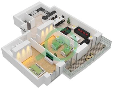برج الأميرة - 2 غرفة شقق وحدة 4 Floor 7-70 مخطط الطابق
