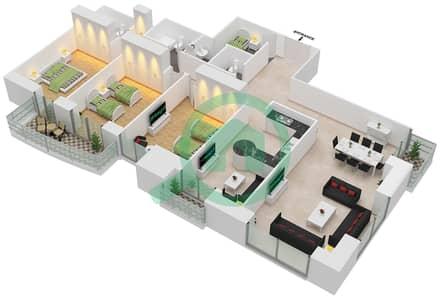 برج الأميرة - 3 غرف شقق وحدة 3 مخطط الطابق