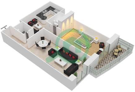 برج الأميرة - 1 غرفة شقق وحدة 2 مخطط الطابق