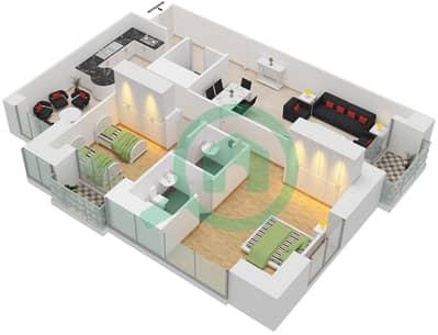 برج الأميرة - 2 غرفة شقق وحدة 1 مخطط الطابق