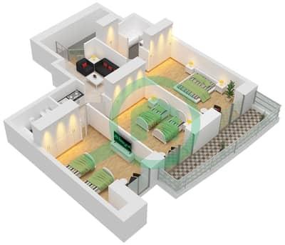 برج الأميرة - 3 غرف شقق وحدة 4 مخطط الطابق