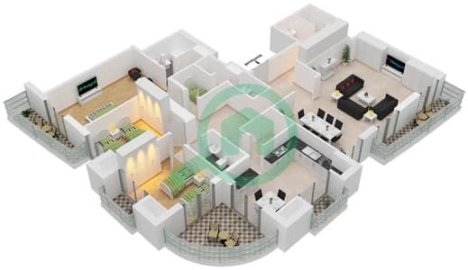 برج الأميرة - 3 غرف بنتهاوس نوع D مخطط الطابق