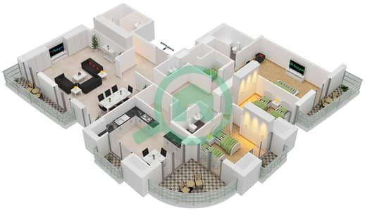 برج الأميرة - 3 غرف بنتهاوس نوع C مخطط الطابق