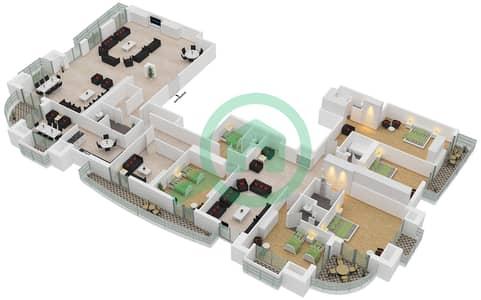برج الأميرة - 5 غرف بنتهاوس نوع B1 مخطط الطابق