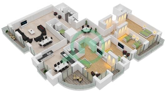 برج الأميرة - 4 غرف بنتهاوس نوع B مخطط الطابق