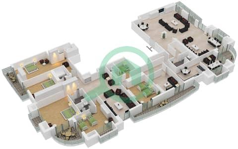 برج الأميرة - 5 غرف بنتهاوس نوع A1 مخطط الطابق