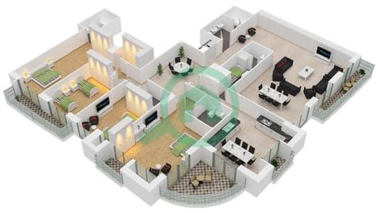 برج الأميرة - 4 غرف بنتهاوس نوع A مخطط الطابق